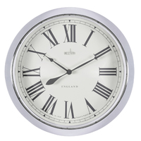 BELMONT - BRUSHED METAL ROUND WALL CLOCK 33CM BY ACCTIM