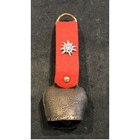 Antique Medium Bell With Edelweiss Red Felt Strap