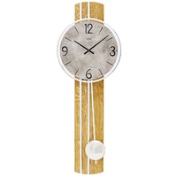 Beech Modern Pendulum Wall Clock With Grey Stone Dial By AMS