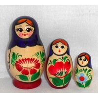 Kirov Russian Nesting Dolls 3 Set With Purple Scarf & Red Dress 7cm