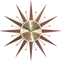 Wolcott - Wood And Metal Starburst Wall Clock 49cm By ACCTIM