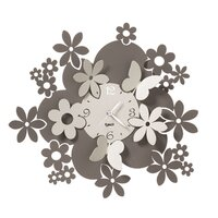 Earth Tones Daisy & Butterfly Modern Wall Clock 40cm By ARTI E MESTIERI