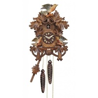 Carved Battery Coloured Birds With Nest 26cm Cuckoo Clock By ENGSTLER