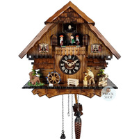 Chalet Battery Woodchopper, Waterwheel And Dancers 33cm Cuckoo Clock By ENGSTLER