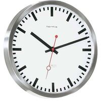 Brushed Metal Wall Clock With Red Second Hand 30cm By HERMLE