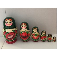 Kirov Russian Nesting Dolls 6 Set With Green Scarf & Red Dress 12cm