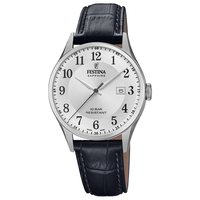 SWISS SILVER WITH SILVER DIAL AND BLACK LEATHER STRAP BY FESTINA