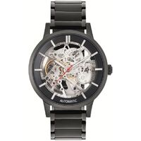 Black/Silver Skeleton Automatic Watch with Black Metal Band BY KENNETH COLE