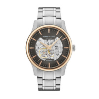Silver/Gold Skeleton Automatic Watch with Silver Bracelet Band BY KENNETH COLE