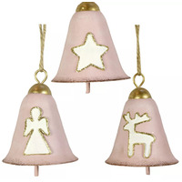 Pink Bell With Gold Trim Christmas Tree Decoration 8cm