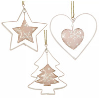 Pink Shape With Gold Trim Christmas Tree Decoration 10cm