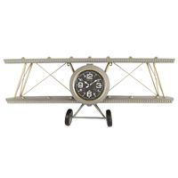 Zinc Grey Air Plane Wall Clock With Shelf
