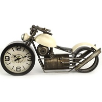 White Industrial Bobber Motor Bike Table Clock
