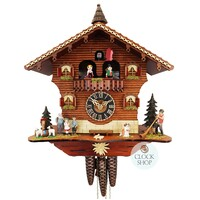 Chalet Hedi and Peter with Alp Horn Blower 36cm Cuckoo Clock BY HONES