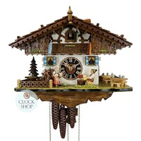Chalet Bavarian Beer Drinker with Beer Maid and Flags 28cm Cuckoo Clock BY HONES