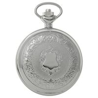 Rhodium Plated Pocket Watch With Crest Design By CLASSIQUE