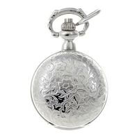 RHODIUM PLATED PENDANT WATCH WITH FLORAL ETCH BY CLASSIQUE