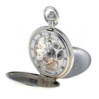 PALLADIUM PLATED MECHANICAL SKELETON POCKET WATCH BY CLASSIQUE