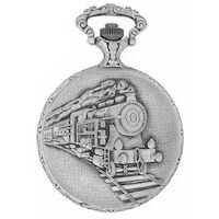 RHODIUM PLATED POCKET WATCH WITH TRAIN BY CLASSIQUE