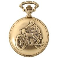 GOLD PLATED POCKET WATCH WITH BIKE RIDER ON BIKE BY CLASSIQUE