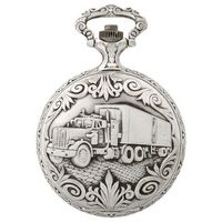 Rhodium Plated Pocket Watch With Truck By CLASSIQUE