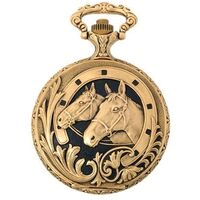 Gold Plated Pocket Watch With 2 Horse Heads On Black By CLASSIQUE