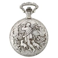 Rhodium Plated Pocket Watch With Hunter By CLASSIQUE