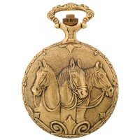 GOLD PLATED POCKET WATCH WITH 3 HORSE HEAD BY CLASSIQUE