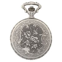 RHODIUM PLATED POCKET WATCH WITH FLORAL PATTERN BY CLASSIQUE