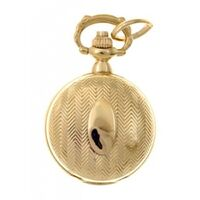 GOLD PLATED PENDANT WATCH WITH ZIG ZAG STRIPE AND CREST BY CLASSIQUE