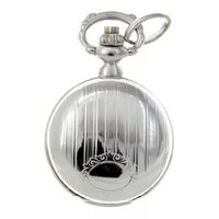 RHODIUM PLATED PENDANT WATCH WITH CREST AND STRIPE BY CLASSIQUE