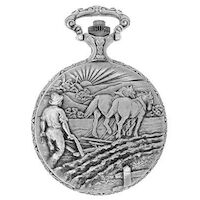 RHODIUM PLATED POCKET WATCH WITH PLOUGHMAN BY CLASSIQUE