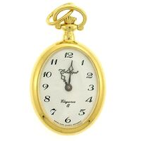 GOLD PLATED PENDANT WATCH OVAL WITH OPEN DIAL BY CLASSIQUE