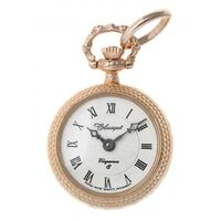 ROSE GOLD PLATED PENDANT WATCH OPEN DIAL WITH FLORAL ETCHED BACK BY CLASSIQUE