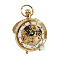 GOLD PLATED MECHANICAL SKELETON OPEN DIAL DESK POCKET WATCH BY CLASSIQUE