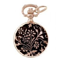 Rose Gold Plated Pendant Watch With Black Enamel Floral By CLASSIQUE