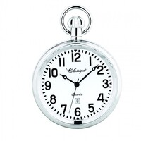 STAINLESS STEEL POCKET WATCH WITH OPEN DIAL BY CLASSIQUE