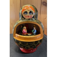 Music Box With Turning Tummy Russian Doll Blue Floral 17cm - Tune Moscow Nights