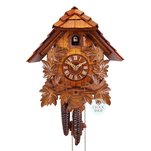 CARVED LEAF WITH MOVING BIRDS 24CM CUCKOO CLOCK BY ROMBA