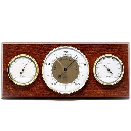 MAHOGANY CLASSIC BAROMETER/ THERMOMETER/HYGROMETER 28.5CM BY FISCHER