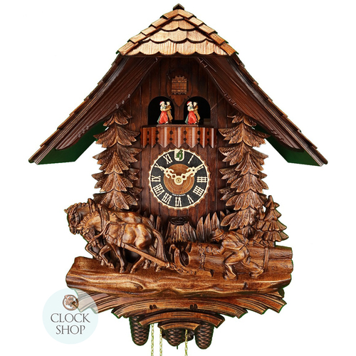 Carved 8 Day Horses And Logger 50cm Cuckoo Clock By HÖNES