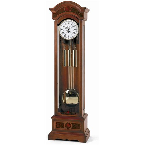 CONTEMPORARY WALNUT GRANDFATHER CLOCK WITH TRIPLE CHIME BY AMS