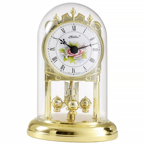 WHITE DIAL ANNIVERSARY CLOCK WITH FLOWERS ROMAN NUMERALS 16CM