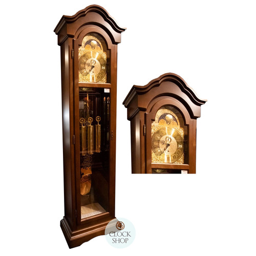 WALNUT GRANDFATHER CLOCK WITH WESTMINSTER CHIME AND FULL GLASS DOOR BY AMS