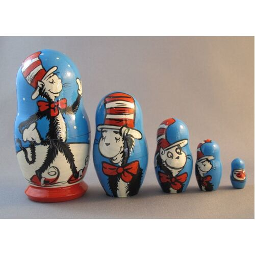 Cat In The Hat Russian Nesting Dolls Blue Large 5 Set 16cm