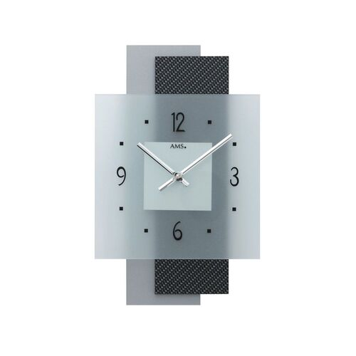 BLACK & SILVER SQUARE DIAL MODERN WALL CLOCK BY AMS