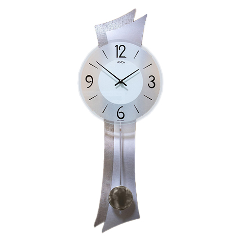 Brown & Silver Modern Wall Clock With Round Dial & Pendulum By AMS
