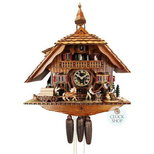 Chalet 8 Day Horse Logger With Wood Cutter. Clear Perspex Face 56cm Cuckoo Clock By SCHNEIDER