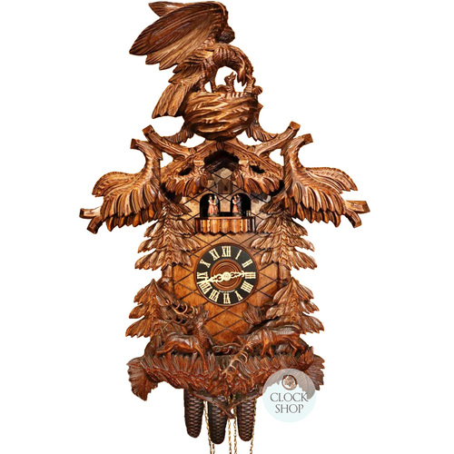Carved 8 Day Eagle With Deer's In Forest 76cm Cuckoo Clock By HÖNES