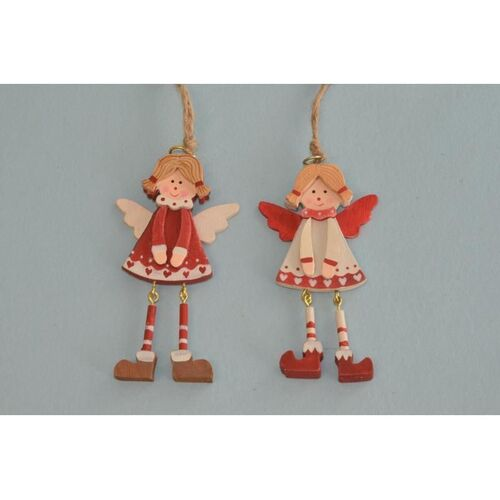 Wooden Red / White Angels with Dangle Legs - 9cm